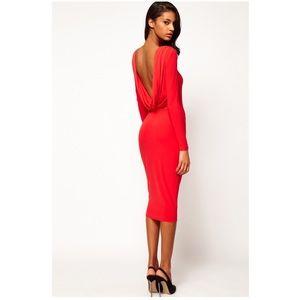 ASOS Midi Body-Con Dress With Drape V Back Red